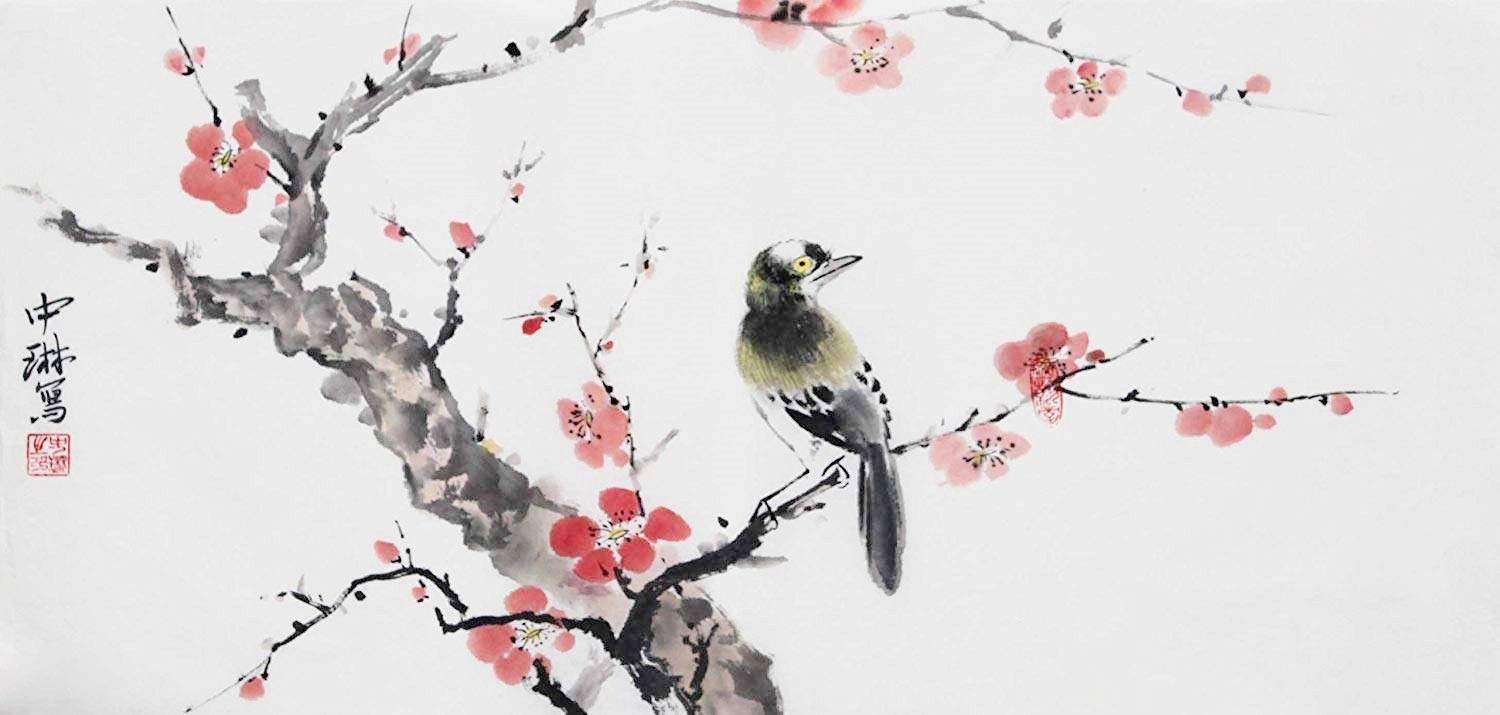 Set of 4 Chinese Painting Brushes Flower Bird Line-drawing
